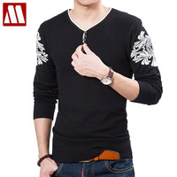 Pull Home Marque Full Men's Thin Sweater V-neck Long-sleeve Cotton Pullover Knitted Shirts Men Button Design Sweaters