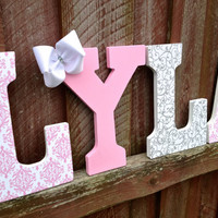 Pink damask, White glitter swirl pattern, and pink glitter letters- Custom wall art- Name- Room decoration- Children Girls Baby