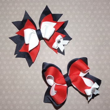 Set of 2: Back to School Uniform Spiked Hair Bow and Twisted Boutique Hair Bow - Navy, Red, and White