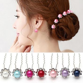 20pcs Blingbling Floral Headwear Pearl Flower Hair Sticks Accessories Wedding Bridal Hairpins Party Crystal TiaraHair Jewelry