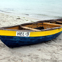 Nautical decor, colorful dinghy boat at the seaside, fine art photography, 5x7 (13x18)