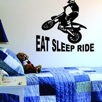 Eat Sleep Ride Dirtbike Quote Decal Wall Vinyl Art Sports Moto X Boy Girl Teen
