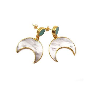 The Luna Turquoise Stud with Pearl Moon Drop Earrings