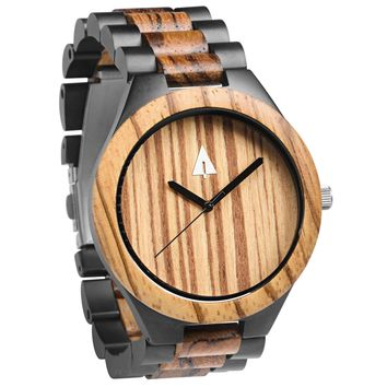 Stainless Steel Wood Watch // Black River