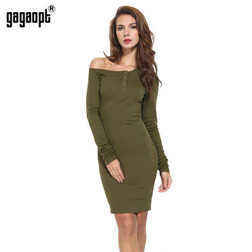 Gagaopt 2017 Autumn Dress Off One Shouder Sexy Women Dresses Autumn Elegant Bodycon Party Dress Longsleeve Vestidos Robes