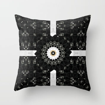 Black and White Gift w/ Marble Ribbon Gold Accent Throw Pillow by Sheila Wenzel