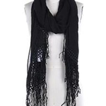 Beautiful BLACK LACE TRIM FRINGE  SCARF  Long 76X26