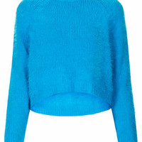 Knitted Fluffy Crew Jumper - Blue