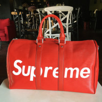 Supreme Women Men Fashion Print Leather Luggage Travel Bag Tote Handbag Black