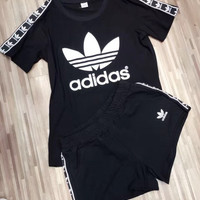 """Adidas"" Fashion Casual Clover Letter Print Ribbon Stitching Short Sleeve Set Two-Piece Sportswear"