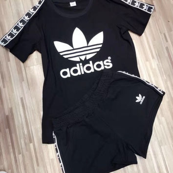 """""""Adidas"""" Fashion Casual Clover Letter Print Ribbon Stitching Short Sleeve Set Two-Piece Sportswear"""