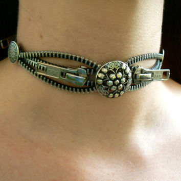 Steampunk Silver Button Zipper Choker Necklace - Industrial Choker Necklace