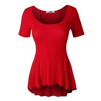 Lightweight Short Sleeve Scoop Neck Peplum Top (CLEARANCE)