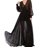 Swiss Dot Sheer Wrap Maxi Dress