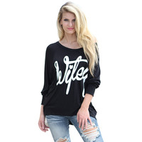 TT253 Slouchy Letter Print Full Batwing Sleeve Off Shoulder Casual Basic T-shirts Tops Pullover Tees For  Black