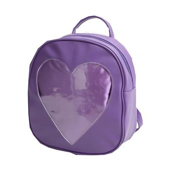 Harajuku Japanese Lolita Clear Backpacks for Teenage Girls Transparent Heart PU Leather Backpack for Women Macaron Rucksack Q075