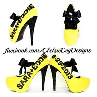 Yellow Glitter Wedding High Heels, Platform Pumps with Names and Date