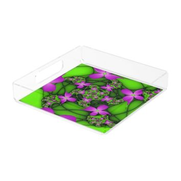 Modern Abstract Neon Pink Green Fractal Flowers Serving Tray