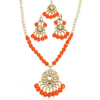 Faux pearl and color bead long chain Pedant Necklace and Earring set with Maang Tikka