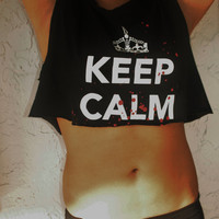 "Studded Crop Top ""Keep Calm"""