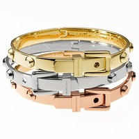 Michael Kors Tri-Tone Belt Buckle Bangle Bracelets