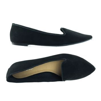 Blog01 Pointed Toe Flat Loafer w Notched Vamp, Women Slip On Plain Flat Pump