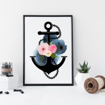 Anchor wall art, watercolor art print, nautical art print, poster, marine illustration, flowers, floral, home wall decor, modern, blue