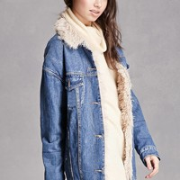 Faux Fur-Lined Denim Jacket