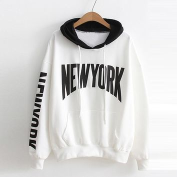 Letter Print Women Hoodies Sweatshirt Drawstring Pocket Autumn Winter Long Sleeve O Neck Casual Pullover Tops For Women #920