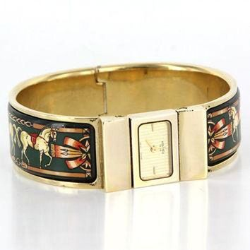 ONETOW Vintage Designer Hermes Loquet Gold Plated Enamel Bracelet Watch Estate Jewelry