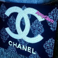 Chanel inspired pop art pearl Cc damask pattern canvas 24x18
