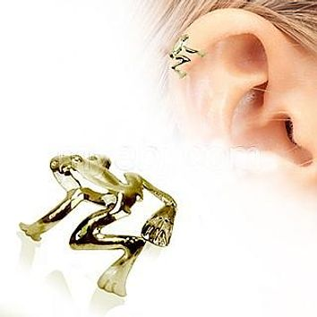 Antique Gold Tree Frog Fake Cartilage Ear Cuff