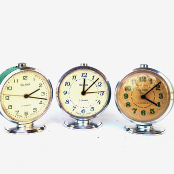 Lot of 3 Vintage soviet union alarm clocks Slava metal mechanical clock watch part steampunk movement assemblage gears supplies ussr clock