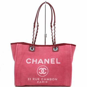 Authentic Chanel Tote Bag DeauvilleMM Reds Canvas 171194
