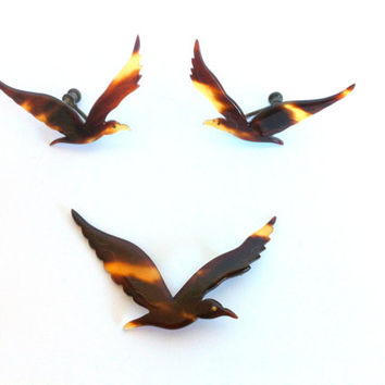 Rare Vintage Tortoise Shell Bird Jewelry Vintage Carved Tortoise Shell Bird Broach & Earring Set