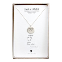 "Maya Angelou ""Light"" Quote Pendant Necklace, Sterling Silver 