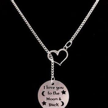 Heart I Love You To The Moon And Back Y Lariat Girlfriend Wife Mom Gift Necklace