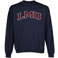 Loyola Marymount Lions Arch Applique on Team Color Sweatshirt - Navy Blue