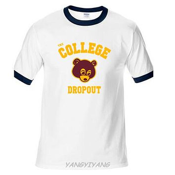 College Dropout t-shirt men Kanye West music printed gift raglan sleeve casual t shirt US plus size S~2XL