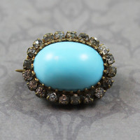 Victorian Turquoise Glass and Paste Stone Oval Brooch