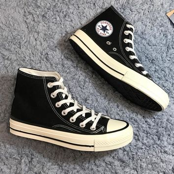 """Converse"" Fashion Casual Women Men High Tops Canvas Flats Sneakers Sport Shoes Black G"