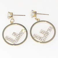 Fendi New fashion diamond long earring women Golden