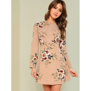 Brown Round Neck Long Sleeve Floral Fit & Flare Dress