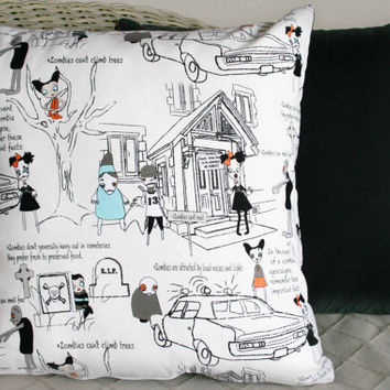 Zombie Apocalypse Cushion Cover (White)