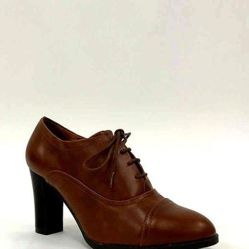 LMFIW1 Brown High Heel Lace Up Office Smart Ankle Boots Shoes