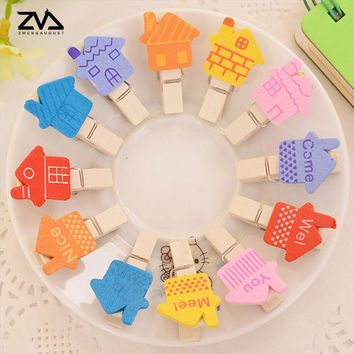 12pcs/bag Korea cartoon Spring Wood Clips cute stationery party Decoration Photo Paper Craft Diy Clips With Hemp Rope
