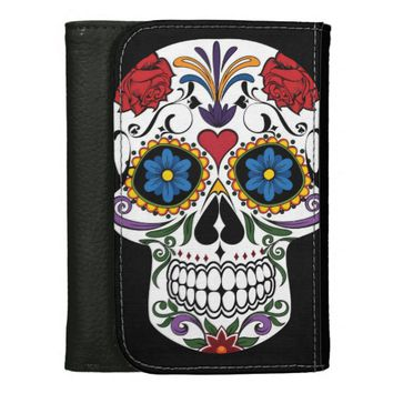 Colorful Sugar Skull Medium Leather Wallet