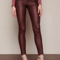BROWN LEATHERETTE SLIM FIT PANTS