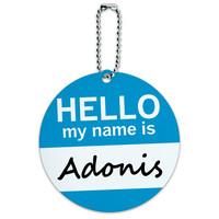 Adonis Hello My Name Is Round ID Card Luggage Tag