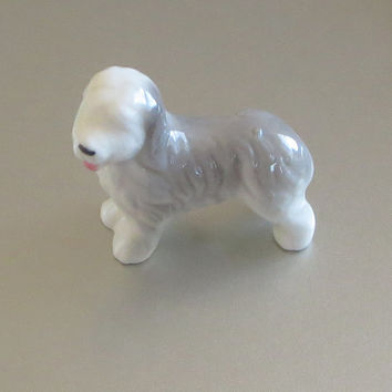 Vintage Old English Sheepdog, Hand Painted Ceramic, Miniature Dog Collectible, Adorable!